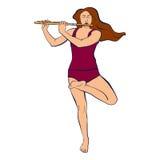 Illustrazione della donna che resta in Vrikshasana e che gioca flauto Fotografie Stock