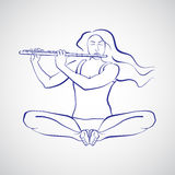 Illustrazione della donna che si siede in Baddha Konasana Immagini Stock