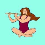 Illustrazione della donna che si siede nel sukhasana e che gioca flauto Fotografia Stock Libera da Diritti