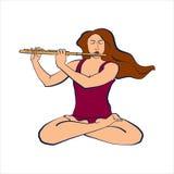 Illustrazione della donna che si siede in Padmasana e che gioca flauto Immagine Stock Libera da Diritti
