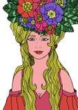 Illustrazione della donna con capelli lunghi illustrazione di stock