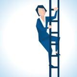 Illustrazione della donna di affari Climbing Ladder Fotografia Stock Libera da Diritti
