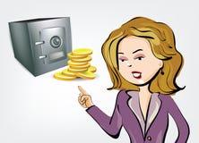 Illustrazione della donna di affari con la volta e le monete Fotografie Stock