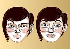 Illustrazione della donna differente di espressioni facciali Fotografia Stock