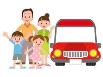 Illustrazione della famiglia e dell'automobile Fotografia Stock Libera da Diritti