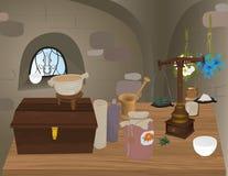 Illustrazione della farmacia medioevale Immagini Stock Libere da Diritti