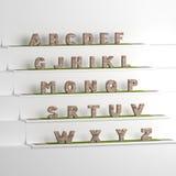 Illustrazione della fonte 3D, grande stare delle lettere Fotografia Stock Libera da Diritti