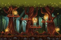 Illustrazione della foresta leggiadramente alla notte con le torce elettriche, le lucciole ed i ponti di legno Immagine Stock