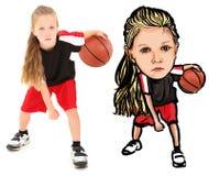 Illustrazione della fotografia del bambino con pallacanestro fotografia stock libera da diritti