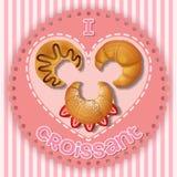 Illustrazione della fragola, del cioccolato e del croissant puro Fotografie Stock