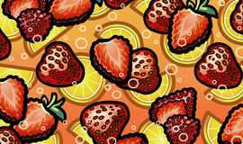 Illustrazione della fragola in limonata scintillante fresca Fotografia Stock