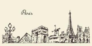 Illustrazione della Francia dell'orizzonte di Parigi disegnata a mano Fotografie Stock Libere da Diritti