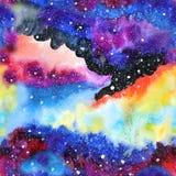 Illustrazione della galassia dell'acquerello Reticolo senza giunte illustrazione di stock