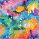 Illustrazione della galassia dell'acquerello Reticolo senza giunte Immagini Stock Libere da Diritti