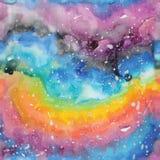 Illustrazione della galassia dell'acquerello Reticolo senza giunte Fotografie Stock
