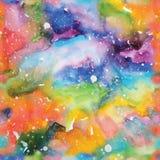 Illustrazione della galassia dell'acquerello Reticolo senza giunte Immagine Stock