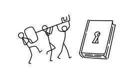 Illustrazione della gente che scopre conoscenza nuova Vettore Apra un libro Formazione del personale unito metafora stile lineare illustrazione vettoriale