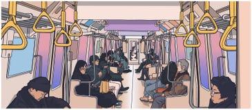 Illustrazione della gente che usando trasporto pubblico; treno, sottopassaggio, metropolitana illustrazione di stock