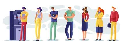 Illustrazione della gente della coda di BANCOMAT illustrazione di stock