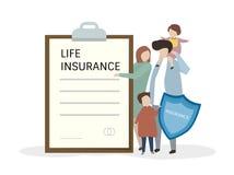 Illustrazione della gente con assicurazione sulla vita illustrazione vettoriale