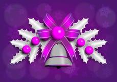 Illustrazione della ghirlanda d'argento di Christmass con gli elementi porpora Immagine Stock Libera da Diritti