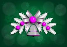 Illustrazione della ghirlanda d'argento di Natale con gli elementi porpora Fondo verde Fotografia Stock