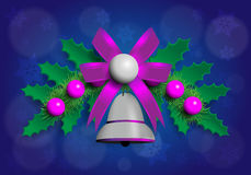 Illustrazione della ghirlanda di Christmass con gli elementi dell'argento e di porpora Immagini Stock Libere da Diritti