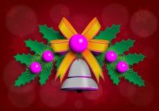Illustrazione della ghirlanda di Christmass con gli elementi porpora e dorati Fotografia Stock