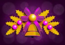Illustrazione della ghirlanda dorata di Natale con gli elementi porpora Fondo porpora Immagine Stock