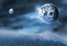 Illustrazione della luna e della terra Immagini Stock Libere da Diritti