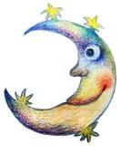 illustrazione della luna e delle stelle Fotografia Stock Libera da Diritti