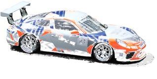 Illustrazione della macchina da corsa di Porsche fotografie stock libere da diritti