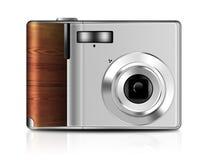 Illustrazione della macchina fotografica compatta digitale con la riflessione su fondo bianco fotografia stock libera da diritti