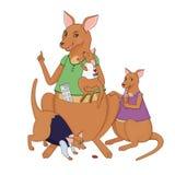 Illustrazione della madre del canguro con lei Fotografie Stock Libere da Diritti