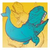 Illustrazione della maglietta di modo della balena Immagini Stock
