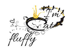 Illustrazione della maglietta di vettore di slogan con il gatto lanuginoso illustrazione di stock