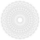 Illustrazione della mandala Modello complesso circolare Modello di progettazione del cerchio del pizzo Mono linea geometrica astr Immagine Stock Libera da Diritti