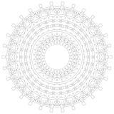Illustrazione della mandala Modello complesso circolare Modello di progettazione del cerchio del pizzo Mono linea geometrica astr Immagini Stock Libere da Diritti