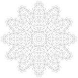 Illustrazione della mandala Modello complesso circolare Modello di progettazione del cerchio del pizzo Mono linea geometrica astr Fotografie Stock
