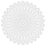 Illustrazione della mandala Modello complesso circolare Modello di progettazione del cerchio del pizzo Mono linea geometrica astr Fotografia Stock