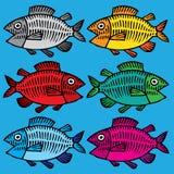 Illustrazione della mano dei pesci colorata Fotografia Stock