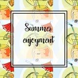 Illustrazione della mano Illustrazione del cocktail tropicale con l'ombrello Reticolo senza giunte Godimento di estate della cart illustrazione di stock