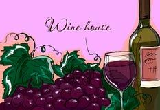 Illustrazione della mano Illustrazione di una bottiglia di vino e di un mazzo di uva Carta gastronomica illustrazione di stock