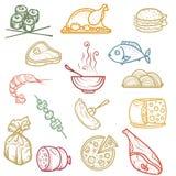 Illustrazione della mano Prodotti delle icone di colore Immagine Stock