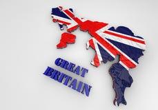 Illustrazione della mappa del Regno Unito con come bandiera illustrazione di stock