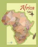 Illustrazione della mappa dell'Africa nei grafici del poligono di stile mappa politica d'annata d'imitazione dell'Africa Fotografia Stock