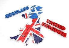Illustrazione della mappa della Scozia e dell'Inghilterra Fotografia Stock Libera da Diritti