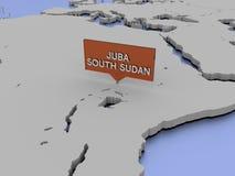 illustrazione della mappa di mondo 3d - Juba, Sudan del sud Fotografia Stock Libera da Diritti