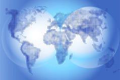 Illustrazione della mappa di mondo su fondo blu, geografia Continenti ed oceano del mondo Fotografia Stock