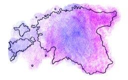 Illustrazione della mappa di vettore dell'Estonia Immagine Stock